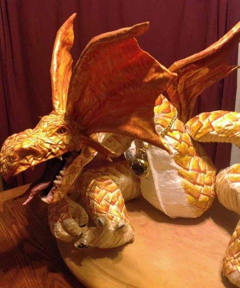 Cindy Newbry's paper mache dragon