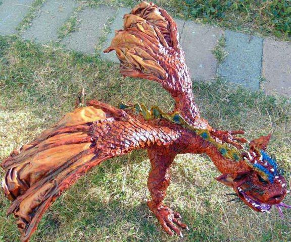 Darren Whittaker's paper mache dragon