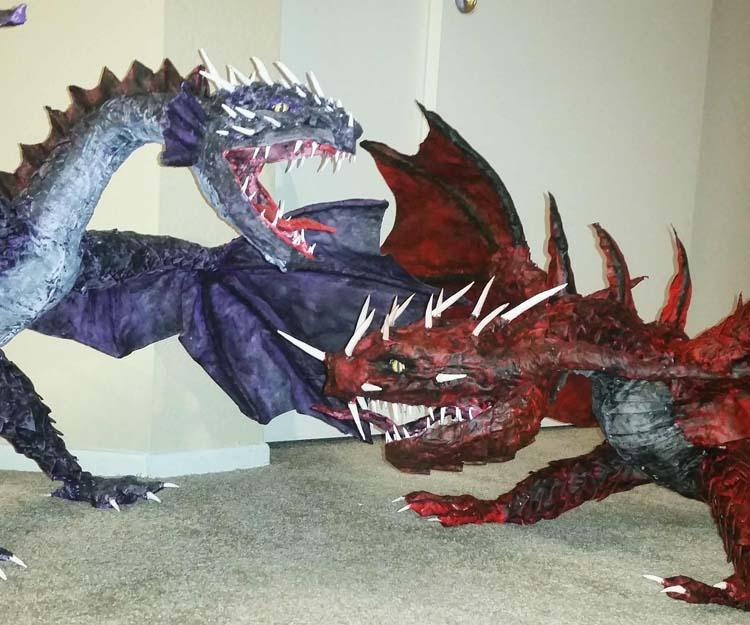 Frank Carrillo's paper mache dragons