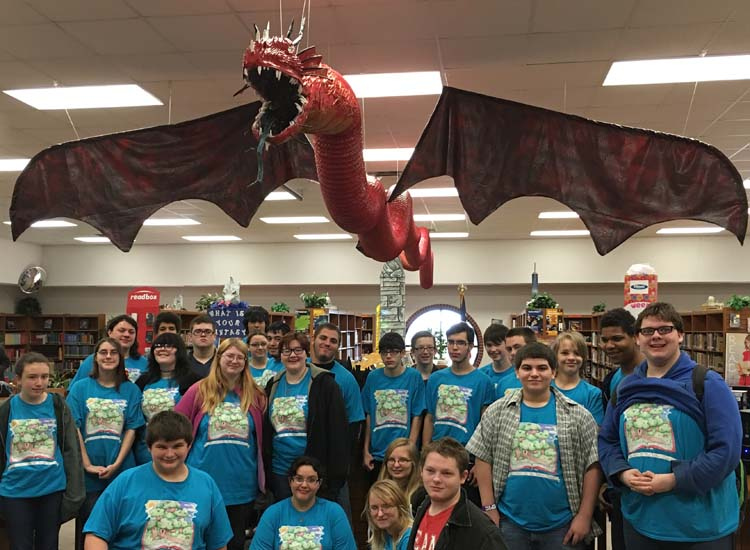 "library club with ""Ramitheen"" dragon"