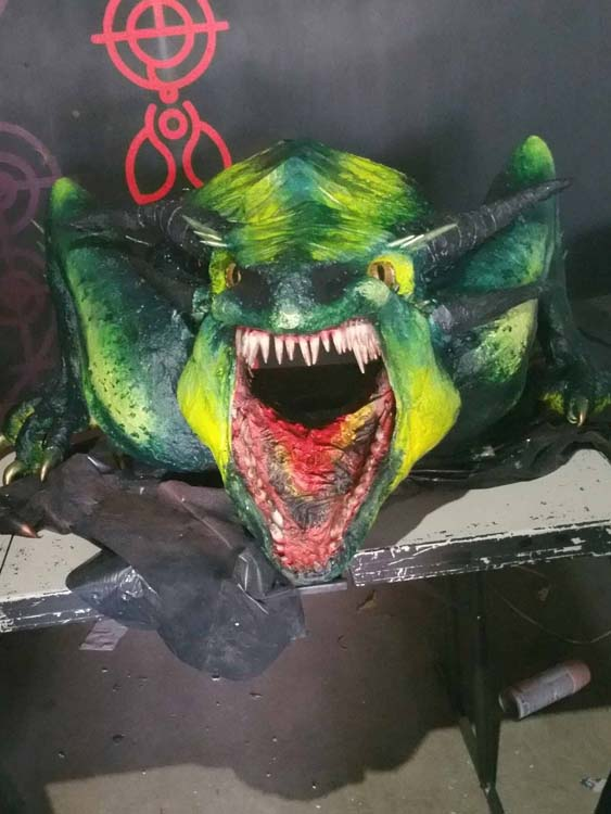 Mimi Nouveau's paper mache dragon head 2