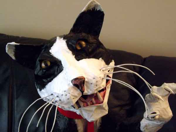 Peter Scott's paper mache cat head for snuzplanet