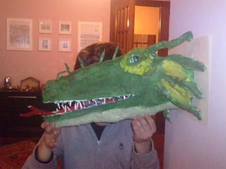 Martin's paper mache dragon trophy