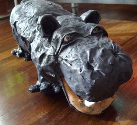 Martins paper mache hippo