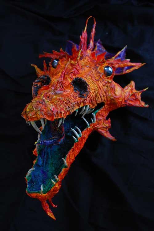 Rachel's paper mache Scottish dragon trophy