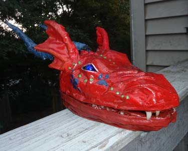 Kim and Katrina's paper mache dragon head