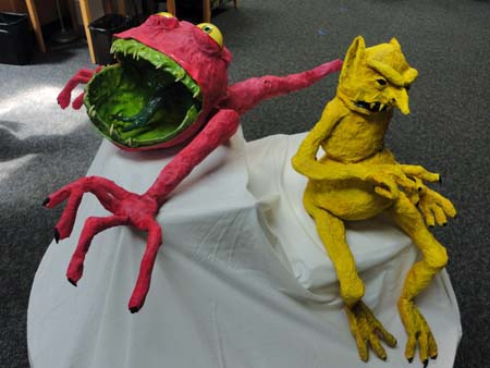 paper mache monsters Charlie the Nematode and Bernie the Goblin