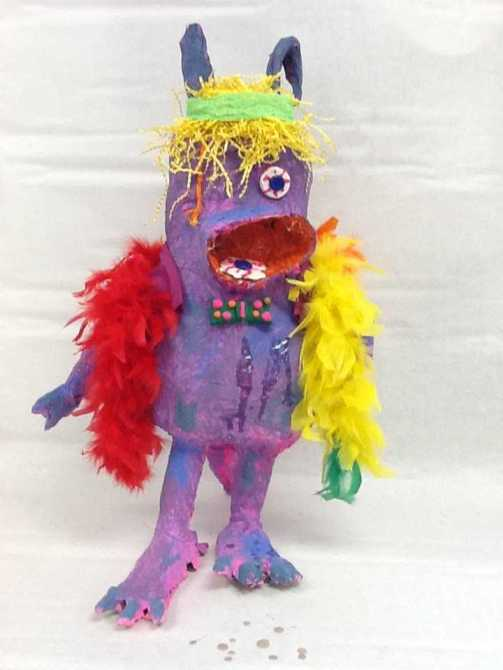 Aliya and Bella's paper mache monster