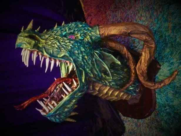 Cheri Rose's paper mache dragon