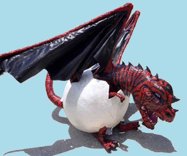 Coleen Johnston's paper mache dragon- baby