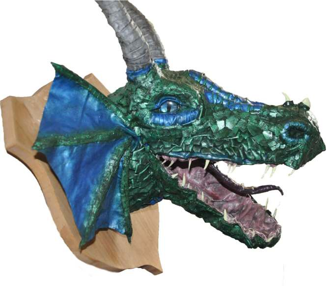 Coleen Johnston's paper mache dragon trophy
