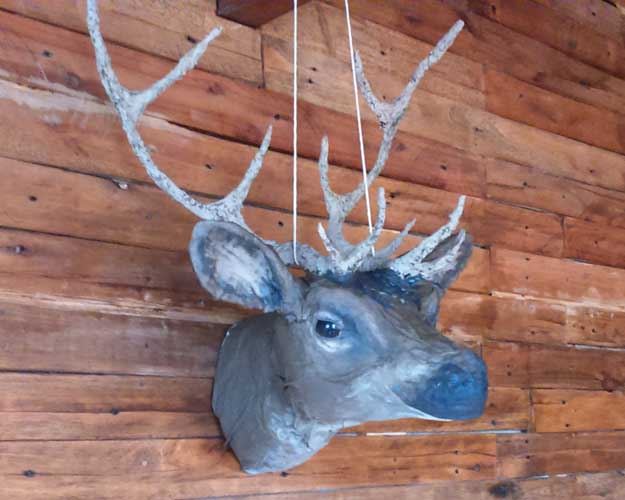 João Carlos' paper mache deer head