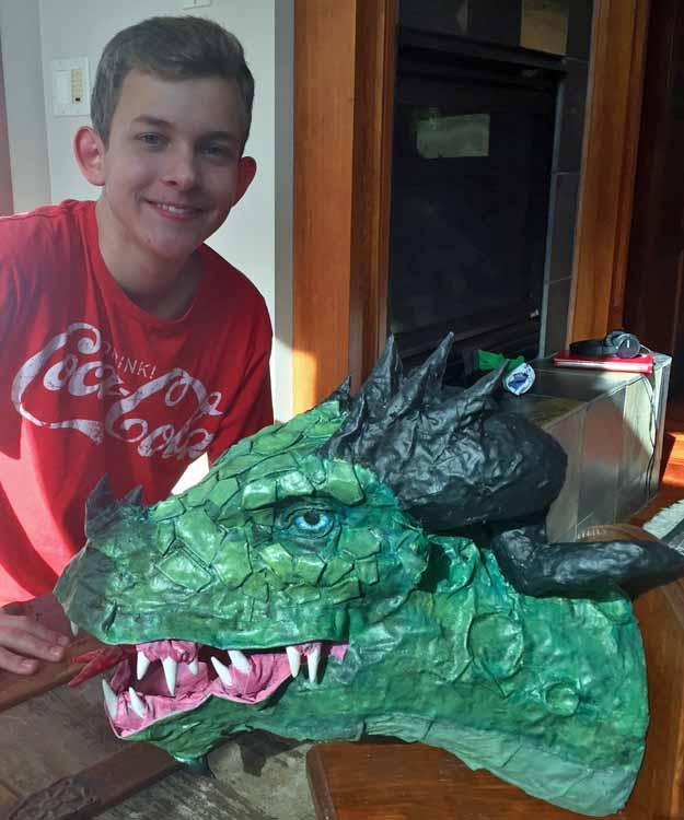Kyle Breske's paper mache dragon