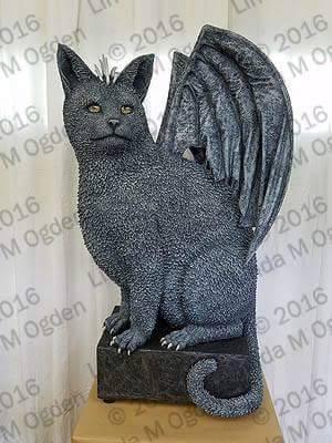 "Linda Ogden's paper mache ""cat:dragon"""