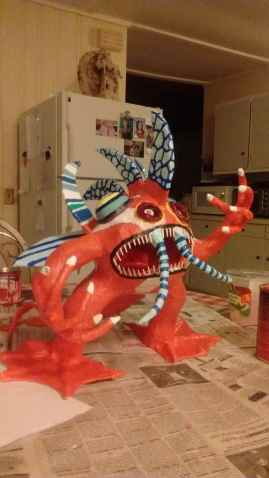 Maria Colemans paper mache monster
