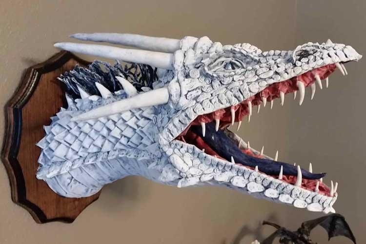 ray bennett's paper mache white dragon