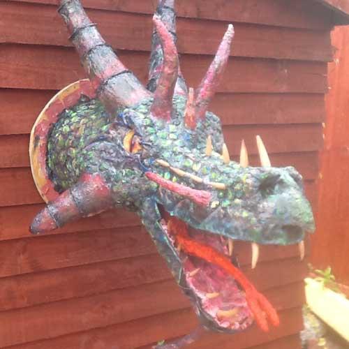 robs newest paper mache dragon
