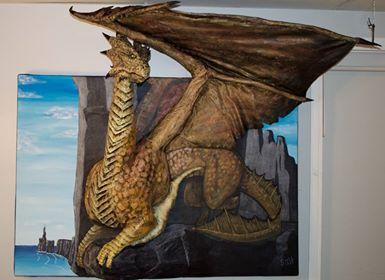 Angie Saltman's paper mache dragon