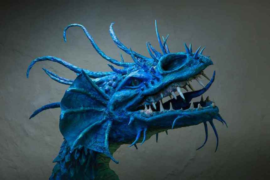 Cathy Price's paper mache dragon trophy