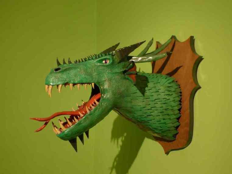Luka's paper mache dragon trophy