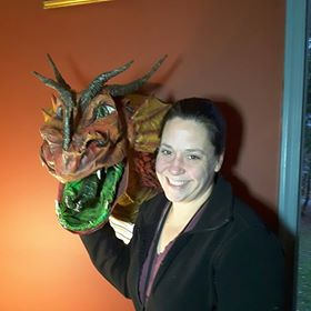 Stephanie Turic's first paper mache dragon.