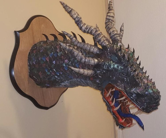 Heather Hearing's paper mache dragon