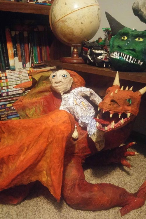 Peter Marinelli's marionette riding dragon