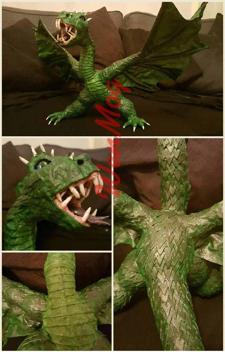 Wendy Morris' paper mache dragon