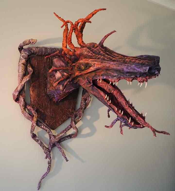 Brenda Nyhof 's paper mache dragon trophy