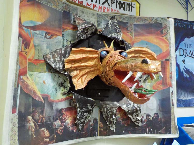 Sally Atkins' -from Dorset England-Smaug in the library
