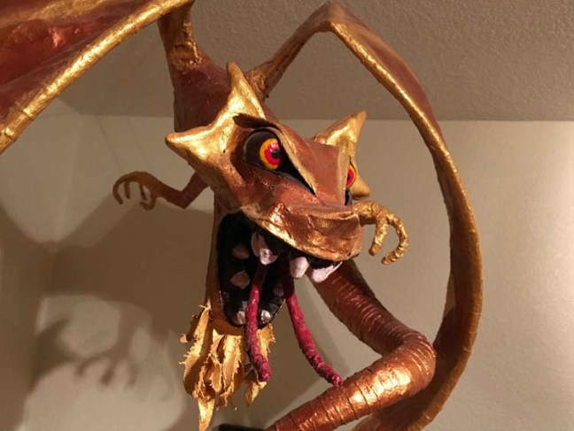 Tim Speyer's gold paper mache dragon- close up