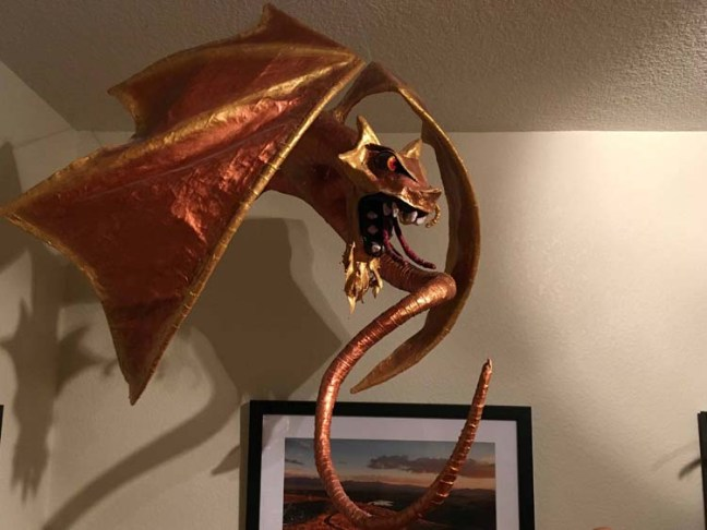 Tim Speyer's gold paper mache dragon