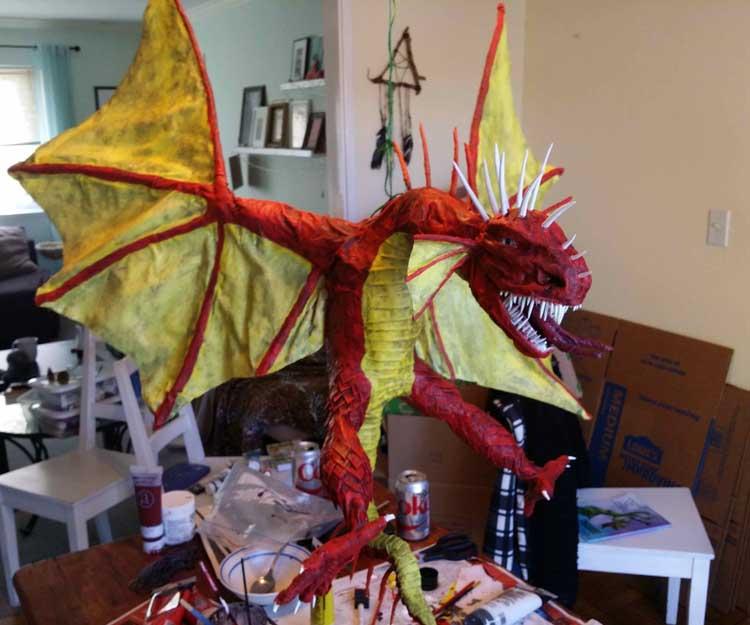 Arthur Stone Wallis' paper mache dragon
