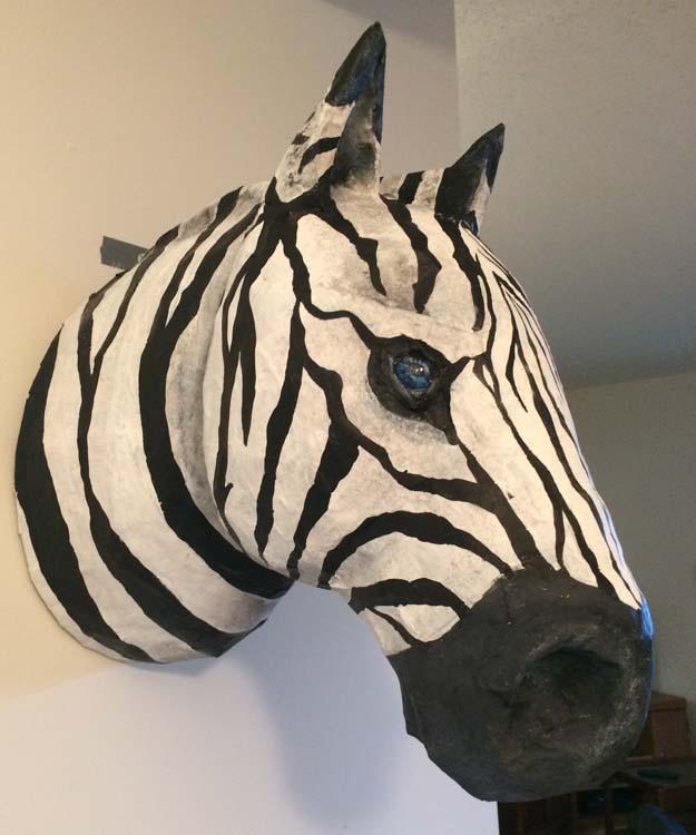 Grace Jerome's paper mache zebra