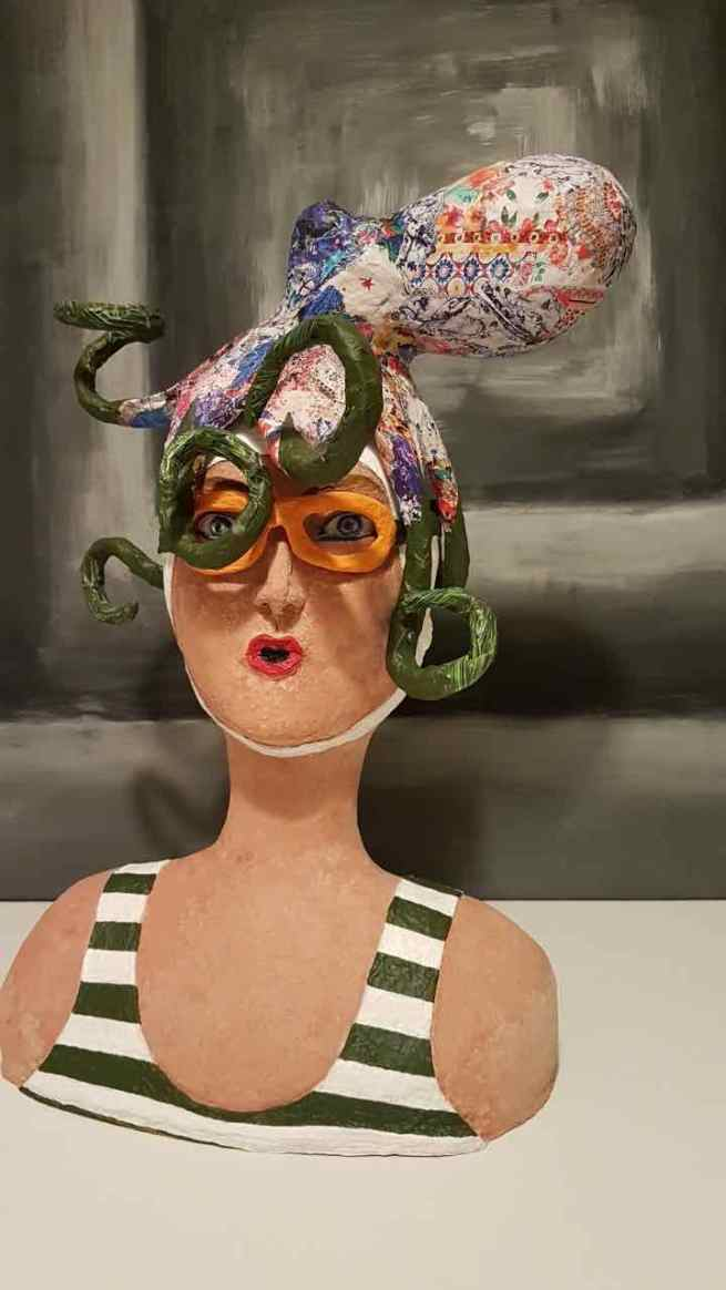 agnes orban's paper mache lady with octopus