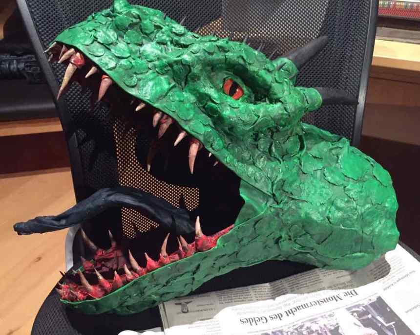 Alexander Wachsmann's paper mache dragon trophy
