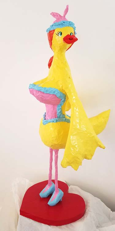 HEATHER FORSTERs paper mache ducklike thing