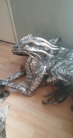 Heather Hearing's new paper mache dragon Miirii