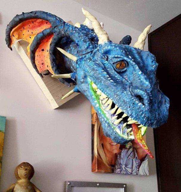 Kipps paper mache dragon trophy