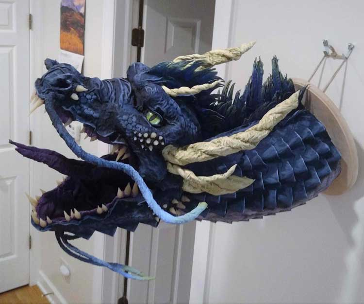 Marissa Plowden's paper mache dragon