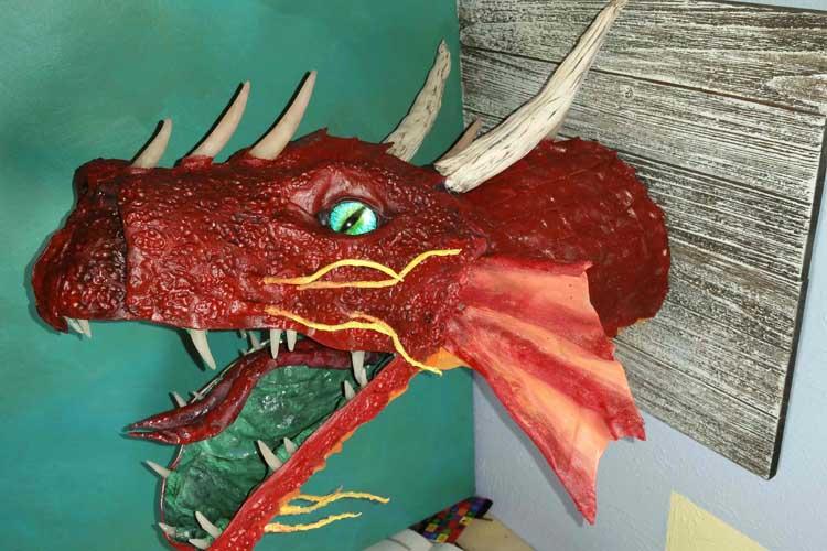 Juliet Hwang's paper mache dragon