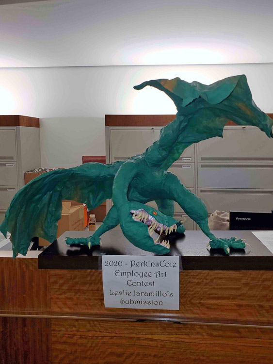 Leslie Jaramillo's paper mache dragon