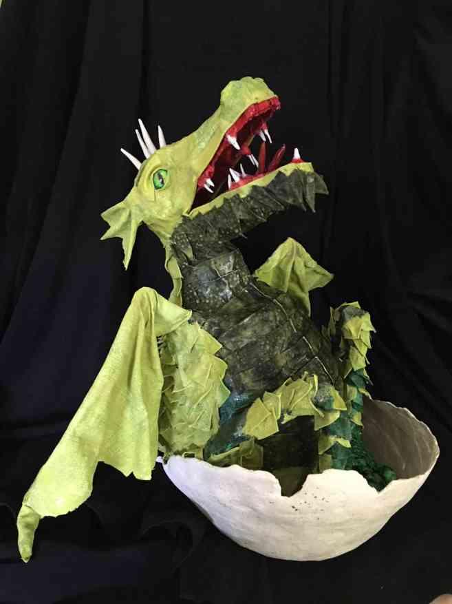 Vicki Scales' paper mache baby dragon