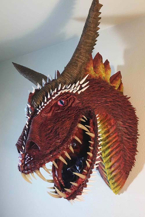 Greg Bruna's paper mache dragon trophy