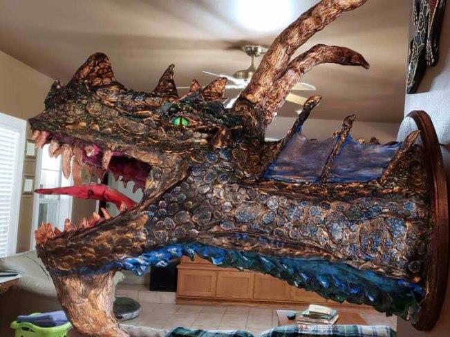 presha's paper mache dragon