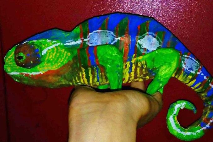 sattik Halder's paper mache chameleon.