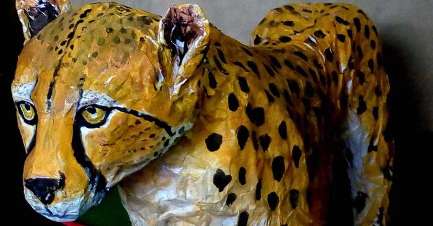 sattik Halder's paper mache cheetah