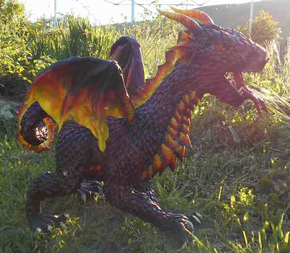 Cheri Rose paper mache dragon