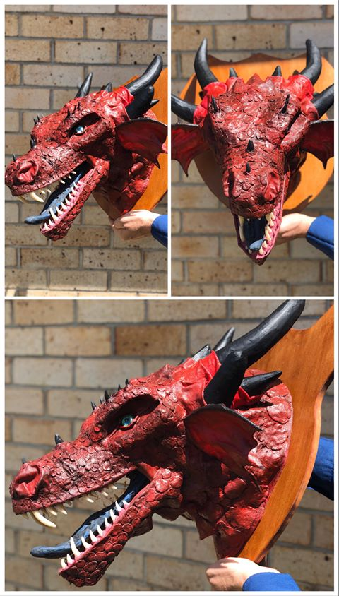 crystal Heller's paper mache dragon trophy