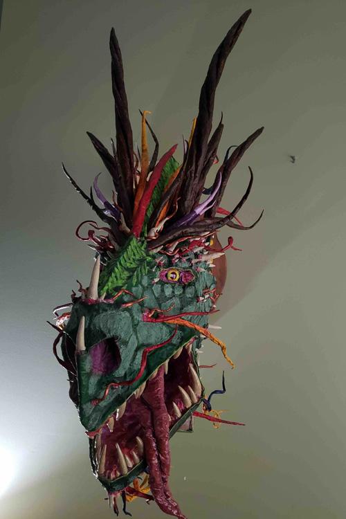 Myles Konstantinos paper mache trophy -front